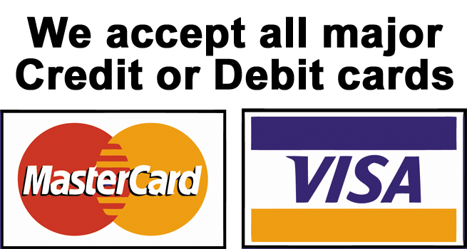 We accept all debit and credit cards